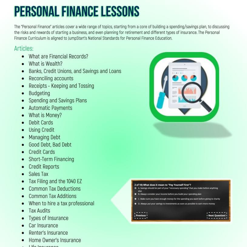 personal finance lessons lab students activities economics order
